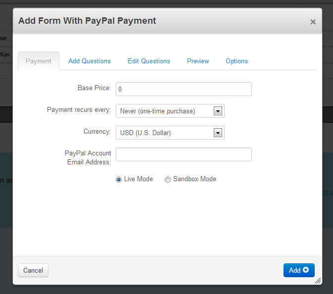 Forms With PayPal / Credit Card Payment - concrete5