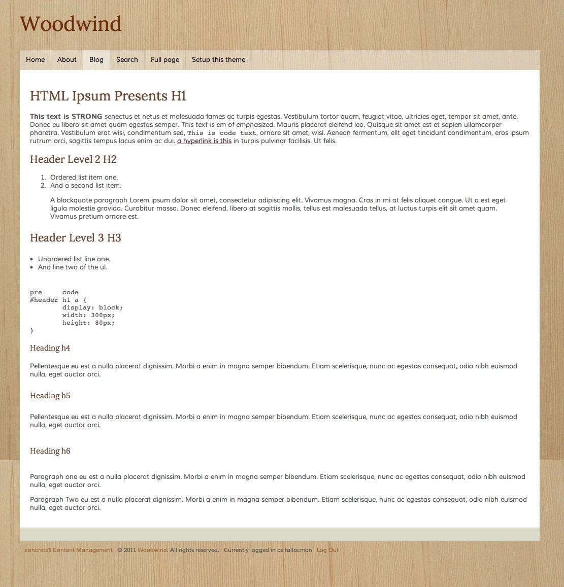 Woodwind - concrete5