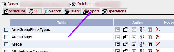 phpMyAdmin selecting export