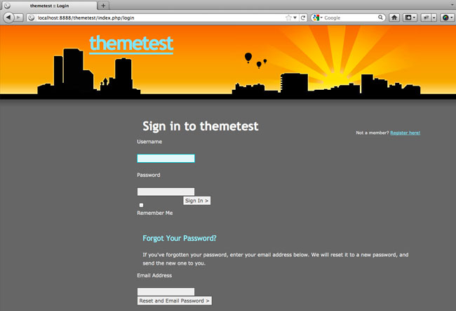themed login page