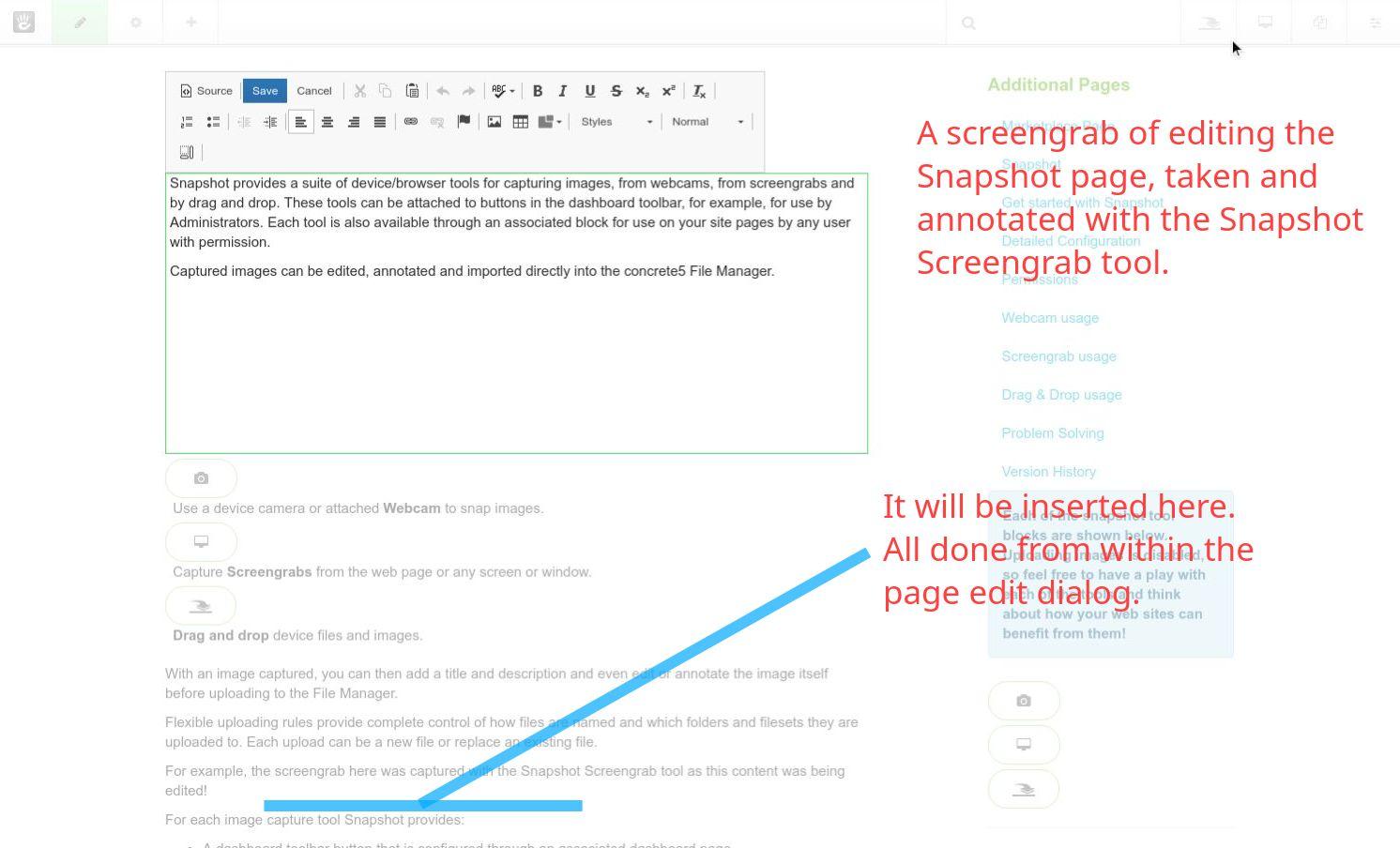 A screengrab of editing the Snapshot page, taken and annotated with the Snapshot Screengrab tool.