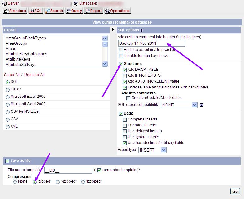 phpMyAdmin export options
