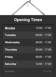 Opening times table